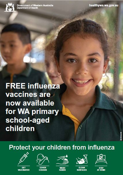 Poster: Free influenza vaccines are now available for WA primary school-aged children