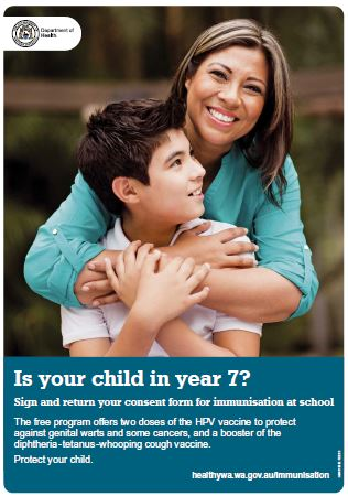 Year 7 school-based immunisation poster featuring a boy and his mum