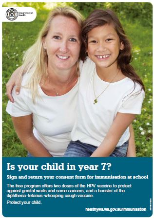Year 7 school-based immunisation poster featuring a girl and her mum