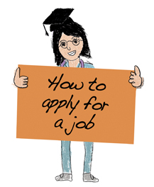 "A female nurse with a mortarboard on head holding up an orange sign with the text, ""How to apply for a job""."
