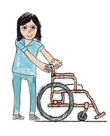 Nurse in turquoise uniform pushing an empty wheelchair