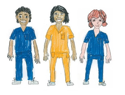 Aboriginal male nurse, aboriginal female nurse and red-headed female nurse