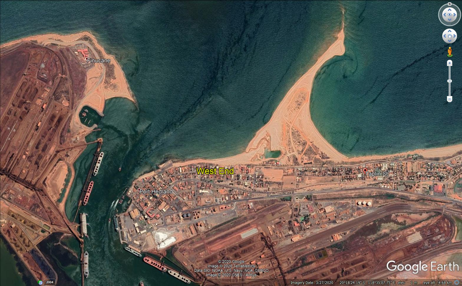 Google Earth image of the Port Hedland township west end