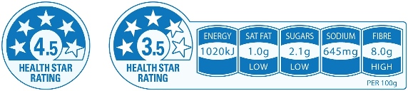 Example of Health Star Rating label showing the nutritional profile of a packaged product