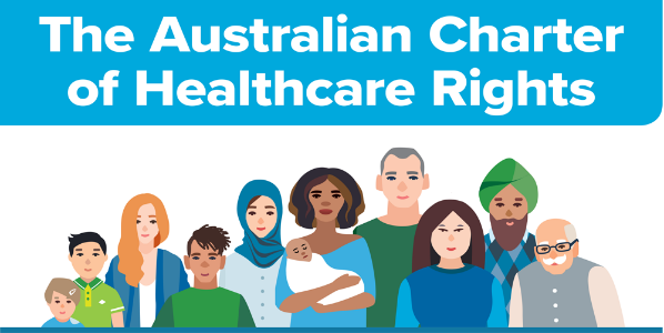 The Australian Charter of Healthcare Rights graphic with people from various ages, genders and cultural backgrounds