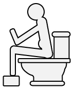 Illustration of person sitting on toilet