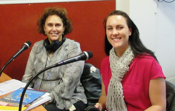 Jo Rogers and Fiona Madden in the Noongar Radio studio.