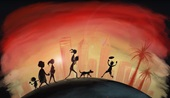 illustration of family walking in front of a sunset with the colours of the Aboriginal flag
