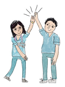 female and male nurse giving a high five to each other