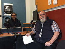 Noongar Radio announcer Jeremy Garlett with Rod Ogilvie from Armadale Hospital