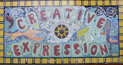Mosaic artwork with the words 'creative expression'