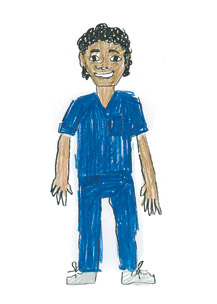 Aboriginal male nurse in dark blue uniform