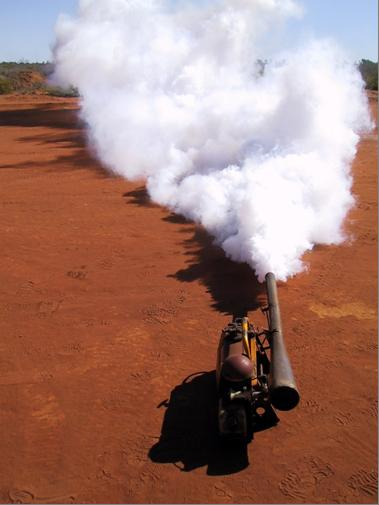 A pesticide fogger in use