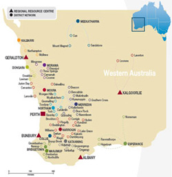 Towns Southern Inland Health Initiative - Map of western australia with towns
