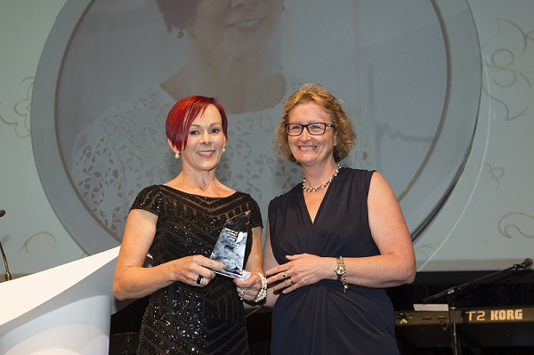 Dr Fenella Gill (left) receiving Excellence in Research Award from Dr Robina Redknap (right)