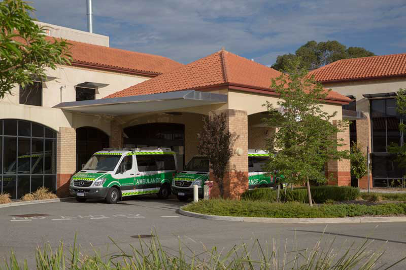 Ambulance parked at emergency department