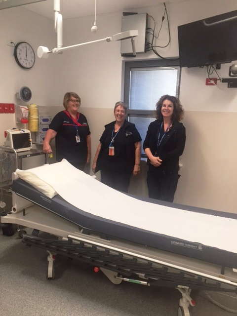Clinical nurse Debbi Young, Clinical Nurse Manager Annette Fookes and Clinical Nurse Patricia Keevers in the temporary emergency room at the Jurien Bay Health Centre.