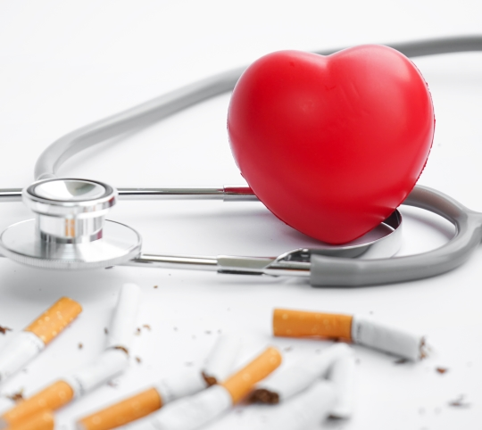 Heart, stethoscope and cigarettes