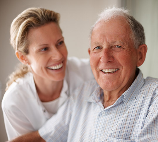 Health professional and elderly patient