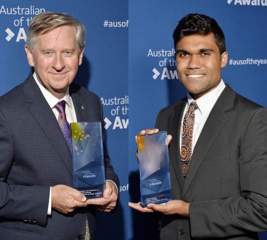 WA Senior Australian of the Year John Newnham and WA Young Australian of the Year Yarlalu Thomas.