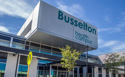 Main entrance to Busselton Health Campus.