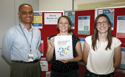 Professor Tarun Weeramanthri, Jennifer Girschik and Laura Miller with the Cancer Control in WA report