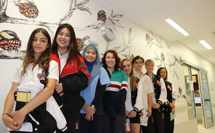 Students whose art is now on display at Fiona Stanley Hospital.
