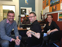 Daniel Vujcich (Department of Health) and Kevin Winder and Fiona Docherty from WASUA with radio announcer, Jeff Michael