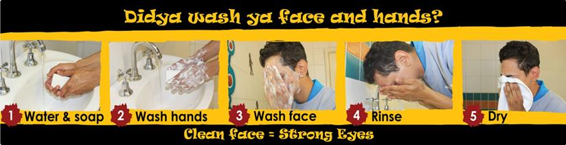 Didya wash your face and hands sticker to remind people living in communities to wash their face and hands correctly to improve hygiene