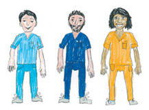 2 male nurses one in turquoise, one in dark blue, with a female nurse wearing orange uniform