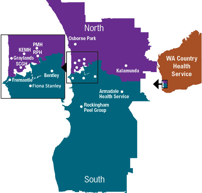 Map showing the Western Australian regions where nurses and midwives can work within the WA public health system