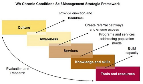 a diagram of the chronic conditions self management strategic framework text