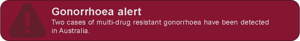 Banner: Gonorrhoea alert – Two cases of multi drug resistant gonorrhoea have been detected in Australia