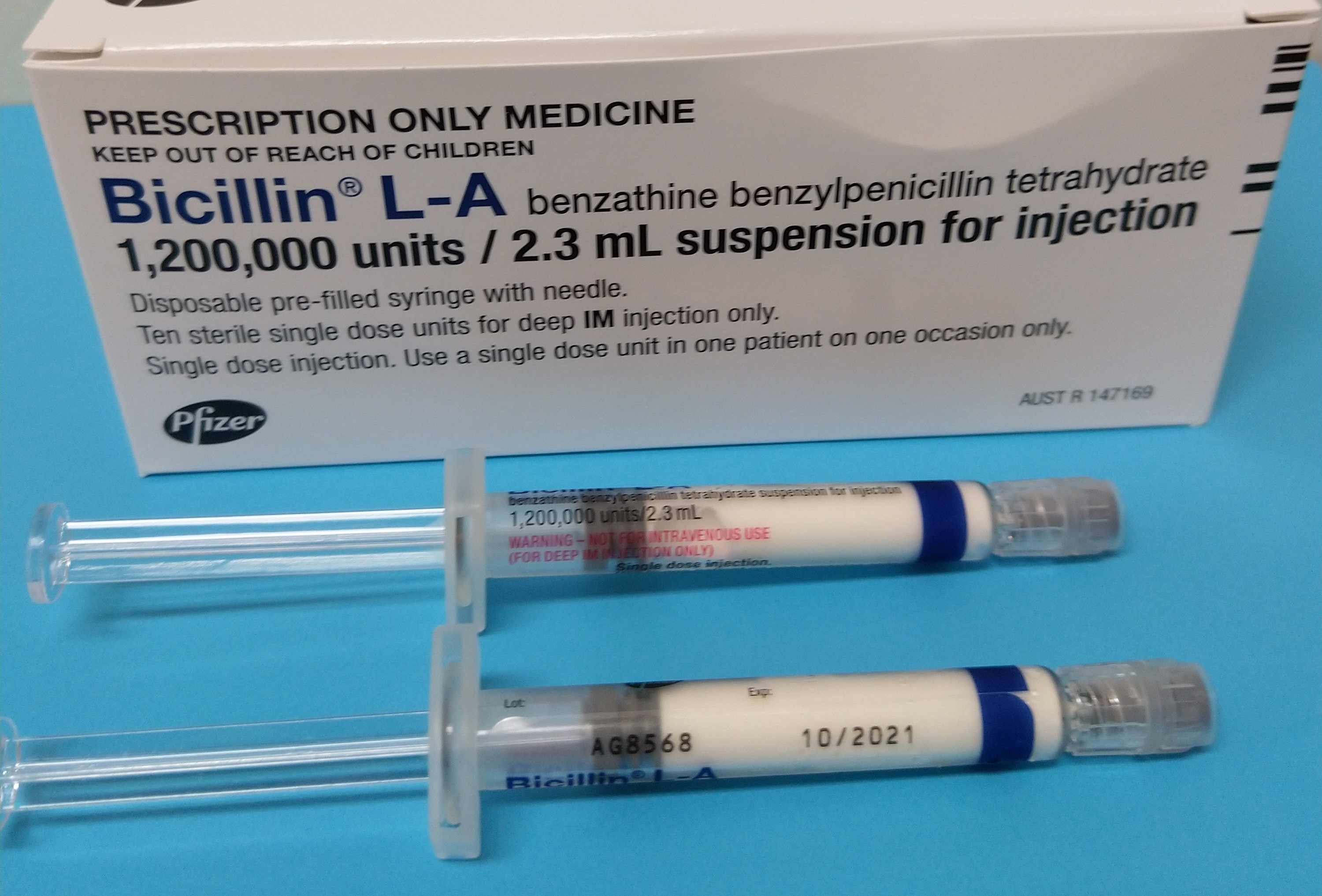 Bicillin box and 2 single dose syringes