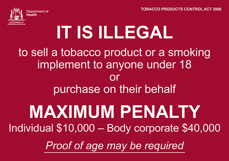 Banner: it is illegal to sell a tobacco product or smoking implement to anyone under 18 or purchase on their behalf.