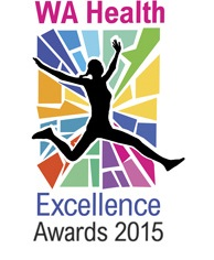 WA Health Excellence Awards 2015 depicting woman leaping with colourful mosaic in background