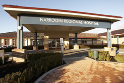 front of building displaying text Narrogin Regional Hospital