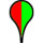 Two tone paddle, with left half red and right half green, indicates bacterial water quality to date is poor, but few contamination sources have been identified